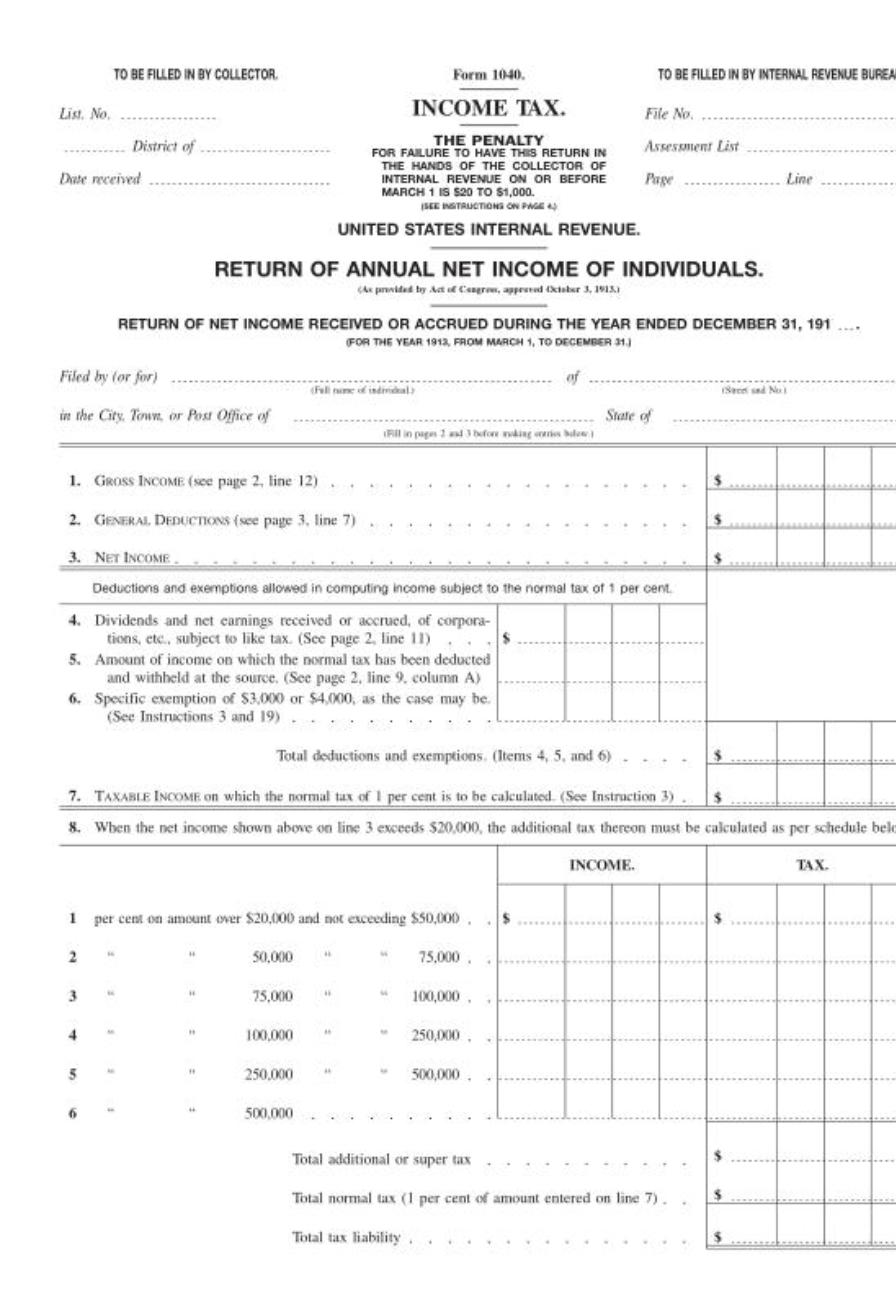 One Page 1040 - 1913 Form 1040